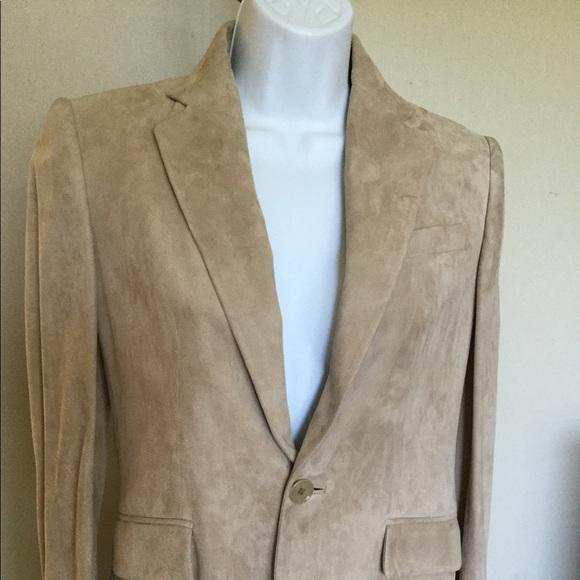 RALPH LAUREN 4 Suede Leather Elastane Jacket Beige
